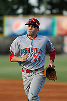 Greeneville Reds outfielder Mike Siani (34) running in to the dugout between innings during a game against the Burlington Royals at the Burlington Athletic Complex on July 7, 2018 in Burlington, North Carolina. This game was Siani's first as a professional after signing with the Cincinnati organization. Burlington defeated Greeneville 2-1. (Robert Gurganus/Four Seam Images)
