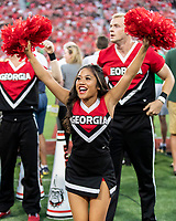 ATHENS, GA - SEPTEMBER 21: Georgia Cheerleader during a game between Notre Dame Fighting Irish and University of Georgia Bulldogs at Sanford Stadium on September 21, 2019 in Athens, Georgia.