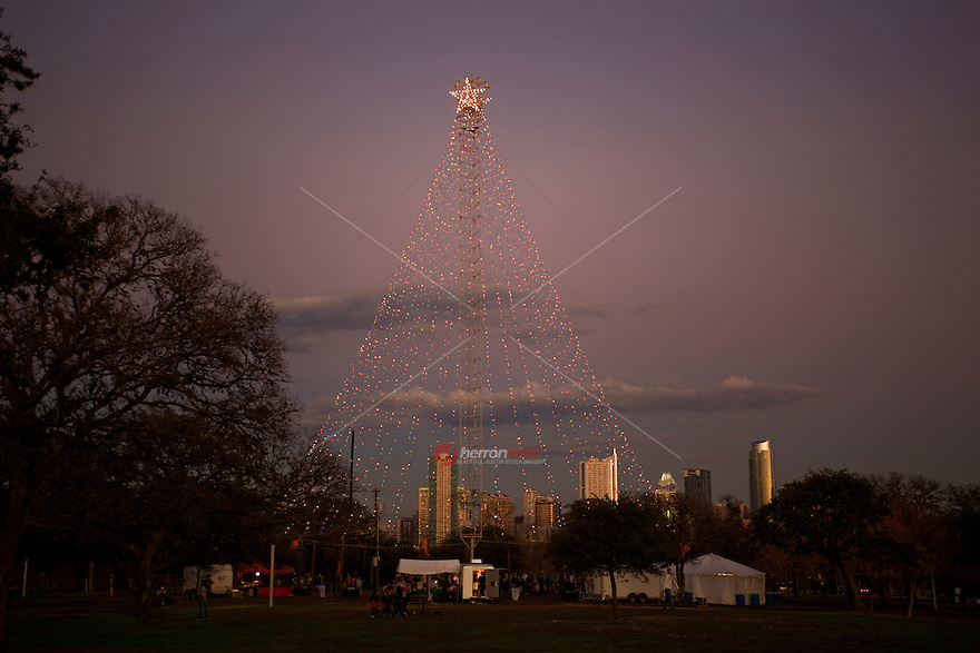 ... Zilker Park Christmas tree at night..jpg. There could not have been a  better way to kick off the holiday season than the - The Skyline Of Austin, Texas With The Zilker Park Christmas Tree At