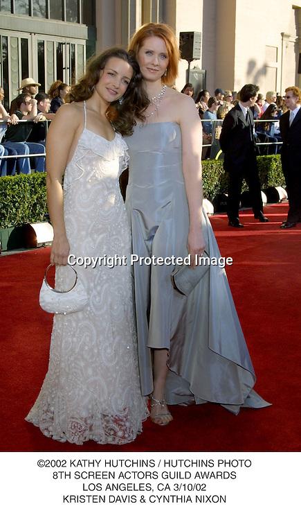 ©2002 KATHY HUTCHINS / HUTCHINS PHOTO.8TH SCREEN ACTORS GUILD AWARDS.LOS ANGELES, CA 3/10/02.KRISTEN DAVIS & CYNTHIA NIXON