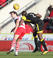 Doncaster Rovers' John Marquis battles with Rotherham United's Josh Emmanuel<br /> <br /> Photographer Mick Walker/CameraSport<br /> <br /> The EFL Sky Bet League One - Doncaster Rovers v Rotherham United - Saturday 11th November 2017 - Keepmoat Stadium - Doncaster<br /> <br /> World Copyright &copy; 2017 CameraSport. All rights reserved. 43 Linden Ave. Countesthorpe. Leicester. England. LE8 5PG - Tel: +44 (0) 116 277 4147 - admin@camerasport.com - www.camerasport.com
