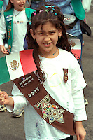 Girl Scout age 9 at Cinco de Mayo festival.  St Paul Minnesota USA