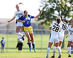 BROOKINGS, SD - SEPTEMBER 17:  Tori Poole #21 from South Dakota State University heads the ball in front of Kenzie Engelkins #7 from Northern Colorado during their game Sunday afternoon at Fischback Soccer Field in Brookings. (Photo by Dave Eggen/Inertia)