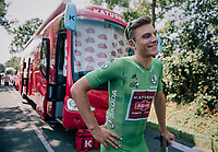 Although he's only 3rd in the green jersey standings, Marcel Kittel (DEU/Katusha-Alpecin) will be the wearer of it on stage 2 as the actual leader in the points classification (Gaviria) is wearing yellow &amp; the runner up (Sagan) prefers wearing his rainbow jersey...<br /> <br /> Stage 2: Mouilleron-Saint-Germain &gt; La Roche-sur-Yon (183km)<br /> <br /> Le Grand D&eacute;part 2018<br /> 105th Tour de France 2018<br /> &copy;kramon