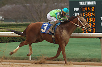 HOT SPRINGS, AR - FEBRUARY 19: Hawaakom #3, with Corey Lanerie aboard before crossing the finish line in the Razorback Handicap at Oaklawn Park on February 19, 2018 in Hot Springs, Arkansas. (Photo by Justin Manning/Eclipse Sportswire/Getty Images)