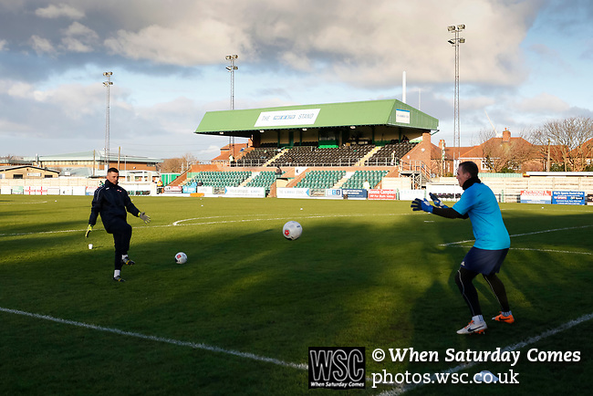 Danny Lewis of Brackley Town warming up. Blyth Spartans v Brackley Town, 30112019. Croft Park, National League North. Photo by Paul Thompson.
