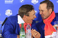 Thorbjorn Olesen and Sergio Garcia (Team Europe) at the press conference after Europe win the Ryder Cup 17.5 to 10.5 at the end of Sunday's Singles Matches at the 2018 Ryder Cup 2018, Le Golf National, Ile-de-France, France. 30/09/2018.<br /> Picture Eoin Clarke / Golffile.ie<br /> <br /> All photo usage must carry mandatory copyright credit (&copy; Golffile | Eoin Clarke)