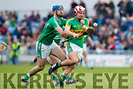 Anthony O'Carroll Ballyduff in action against Jeremy McKenna Lixnaw in the Senior County Hurling Final in Austin Stack Park on Sunday