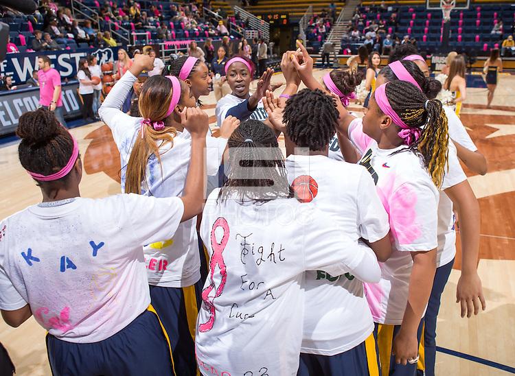 California women's team performs pre-game cheer against Arizona at Haas Pavilion in Berkeley, California on February 14th, 2014. California defeated Arizona 65 - 49