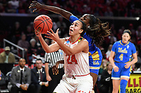 College Park, MD - March 25, 2019: Maryland Terrapins forward Stephanie Jones (24) catches an over shoulder pass over UCLA Bruins forward Michaela Onyenwere (21) during second round game of NCAAW Tournament between UCLA and Maryland at Xfinity Center in College Park, MD. UCLA advanced to the Sweet 16 defeating Maryland 85-80.(Photo by Phil Peters/Media Images International)