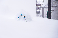 Cody Townsend enjoying the chairline. Fukushima prefecture, Japan