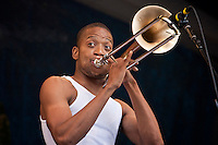 "Troy ""Trombone Shorty"" Andrews performs on the Gentilly Stage on Day 7 at the New Orleans Jazz and Heritage Festival at the New Orleans Fair Grounds Race Course in New Orleans, Louisiana, USA, 2 May 2010."