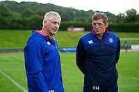 Bath Director of Rugby Todd Blackadder and Stuart Hooper look on after the match. Pre-season friendly match, between the Scarlets and Bath Rugby on August 20, 2016 at Eirias Park in Colwyn Bay, Wales. Photo by: Patrick Khachfe / Onside Images