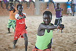 Children participate in recreational activities sponsored by Jesuit Refugee Service in the Doro Refugee Camp in Maban, South Sudan. The camp is one of four in Maban that together shelter more than 130,000 refugees from the Blue Nile region of Sudan. The recreational program is one of several psycho-social activities that JRS carries out in the camp.<br /> <br /> Misean Cara supports the work of JRS in the Maban camps.