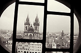 CZECH REPUBLIC, exterior of the Church of our Lady Tyn seen through window (B&W)