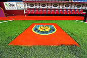 10th September 2017, Turf Moor, Burnley, England; EPL Premier League football, Burnley versus Crystal Palace; A general view inside the stadium of the crest in front of the dugouts
