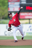 Kannapolis Intimidators starting pitcher Jordan Guerrero (23) in action against the Lakewood BlueClaws at CMC-Northeast Stadium on May 17, 2015 in Kannapolis, North Carolina.  The Intimidators defeated the BlueClaws 4-1.  (Brian Westerholt/Four Seam Images)