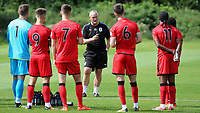 Huddersfield Town U23 Manager, Frankie Bunn talks with his players at half-time during Millwall Under-23 vs Huddersfield Town Under-23, Professional Development League Football at Millwall Training Ground on 14th August 2017