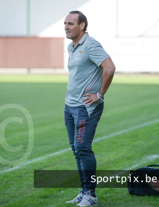 20150627 - INGELMUNSTER , BELGIUM : Oostende's head coach Yves vanderhaeghe pictured during a friendly match between Belgian first division team KV Oostende and Belgian fourth division soccer team OMS Ingelmunster , during the preparations for the 2015-2016 season, Saturday 27th June 2015 in Ingelmunster. PHOTO DAVID CATRY