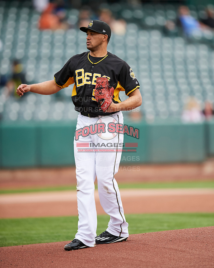 Salt Lake Bees starting pitcher Vicente Campos (53) of the Salt Lake Bees delivers a pitch to the plate against the El Paso Chihuahuas in Pacific Coast League action at Smith's Ballpark on April 30, 2017 in Salt Lake City, Utah. El Paso defeated Salt Lake 12-3. This was Game 2 of a double-header originally scheduled on April 28, 2017. (Stephen Smith/Four Seam Images)