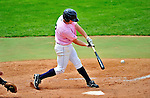 """18 July 2010: Vermont Lake Monsters infielder Justin Miller in action against the Staten Island Yankees at Centennial Field in Burlington, Vermont. The Lake Monsters, dressed in their Breast Cancer Awareness """"Pinks"""", fell to the Yankees 9-5 in NY Penn League action. Mandatory Credit: Ed Wolfstein Photo"""