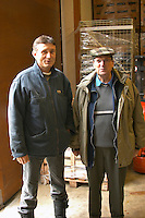 Alberic Mazoyer, co-owner and wine maker, and Alain Voge wearing a cap.  Alain Voge, Cornas, Ardeche, Ardèche, France, Europe