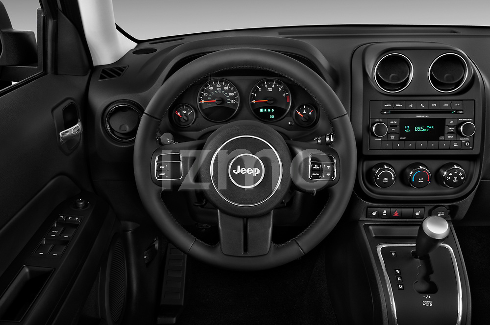 Steering wheel view of a 2014 Jeep Patriot Latitude