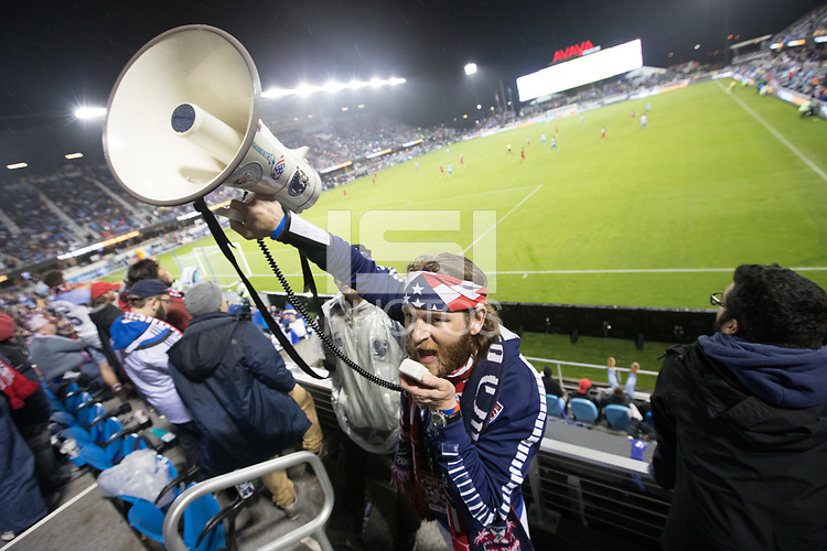 SAN JOSE, CA - March 24, 2017: A US Soccer fan leads some cheers at the CONCACAF World Cup Qualifier game between the USA and Honduras at Avaya Stadium.