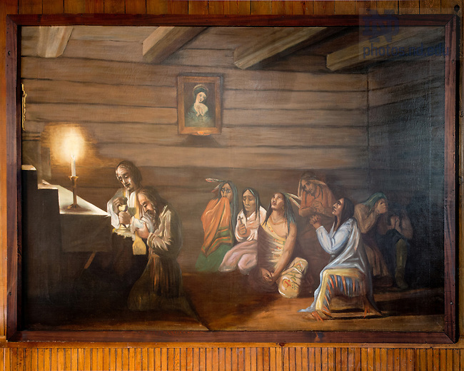 "May 17, 2012; Painting ""Last Communion of Father Louis De Seille"" on the north wall of the Log Chapel. (Photo by Matt Cashore)"