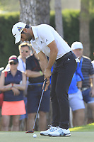 Adrian Otaegui (ESP) putts on the 17th green during Sunday's Final Round of the 2018 Turkish Airlines Open hosted by Regnum Carya Golf &amp; Spa Resort, Antalya, Turkey. 4th November 2018.<br /> Picture: Eoin Clarke | Golffile<br /> <br /> <br /> All photos usage must carry mandatory copyright credit (&copy; Golffile | Eoin Clarke)