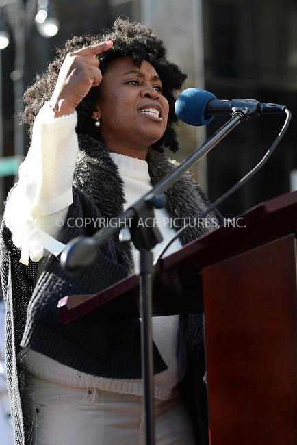 www.acepixs.com<br /> January 20, 2018  New York City<br /> <br /> Sulma Arzu-Brown on stage speaking to crowds at the Women's March on January 20, 2018 in New York City.<br /> <br /> Credit: Kristin Callahan/ACE Pictures<br /> <br /> Tel: 646 769 0430<br /> Email: info@acepixs.com