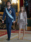 Princes of Spain Felipe and Letizia attend the Royal Palace reception on the National Military Parade.October 12,2012.(ALTERPHOTOS/Pool)