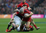 Jonathan Davies of Wales tackled by Finn Russell of Scotland - RBS 6Nations 2015 - Scotland  vs Wales - BT Murrayfield Stadium - Edinburgh - Scotland - 15th February 2015 - Picture Simon Bellis/Sportimage