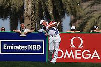 Thomas Bjorn (DEN) tees off on the 9th tee during Sunday's Final Round of the 2012 Omega Dubai Desert Classic at Emirates Golf Club Majlis Course, Dubai, United Arab Emirates, 12th February 2012(Photo Eoin Clarke/www.golffile.ie)