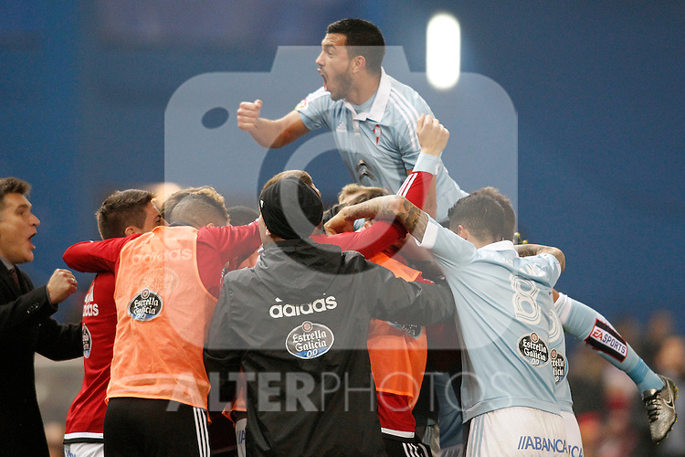 Celta de Vigo's Gustavo Cabral celebrates goal during Spanish Kings Cup match. January 27,2016. (ALTEPHOTOS/Acero)