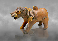 Hittite Terra cotta lion shaped ritual vessel - 16th century BC - Hattusa ( Bogazkoy ) - Museum of Anatolian Civilisations, Ankara, Turkey . Against grey art background