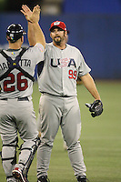 March 8, 2009:  Pitcher Heath Bell (99) of Team USA during the first round of the World Baseball Classic at the Rogers Centre in Toronto, Ontario, Canada.  Team USA defeated Venezuela  15-6 to secure a spot in the second round of the tournament.  Photo by:  Mike Janes/Four Seam Images