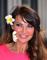 Lizzie Cundy<br /> The &quot;Bula Quo!&quot; UK film premiere, Odeon West End cinema, Leicester Square, London, England.<br /> July 1st, 2013<br /> headshot portrait pink flower in hair  <br /> CAP/BF<br /> &copy;Bob Fidgeon/Capital Pictures