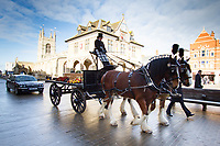 15.2.2018:- Roy Bird MBE was laid to rest today after being carried to the cathedral in a carriage drawn by two shire horses in recognition of his time as secretary of the Shire Horse Society, the 91-year old from Paston in Peterborough was also well known as Chief Executive of the East of England Agricultural Society and for overseeing the formation of the Peterborough located East Of England Showground.Members of the agricultural society formed a guard of honour as Roy&rsquo;s coffin entered the cathedral. <br /> &copy;Tim Scrivener Photographer 07850 303986<br /> ....Covering Agriculture In The UK....