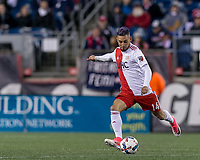 Foxborough, Massachusetts - April 22, 2017: In a Major League Soccer (MLS) match, New England Revolution (red/white) tied D.C. United (black), 2-2, at Gillette Stadium.