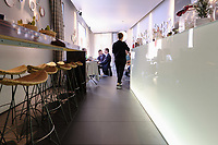 A view of the restaurant as you enter through the door at Franceschetta 58, Modena. Franceschetta 58 is the second restaurant of Massimo Bottura, whose restaurant Osteria Francescana is the No 1 ranked restaurant in the 2016 The World's 50 Best Restaurants, and is rated with three stars by the Michelin Guide. Photo Sydney Low
