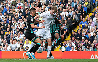 Leeds United's Patrick Bamford battles with Swansea City's Connor Roberts and Andre Ayew<br /> <br /> Photographer Alex Dodd/CameraSport<br /> <br /> The EFL Sky Bet Championship - Leeds United v Swansea City - Saturday 31st August 2019 - Elland Road - Leeds<br /> <br /> World Copyright © 2019 CameraSport. All rights reserved. 43 Linden Ave. Countesthorpe. Leicester. England. LE8 5PG - Tel: +44 (0) 116 277 4147 - admin@camerasport.com - www.camerasport.com
