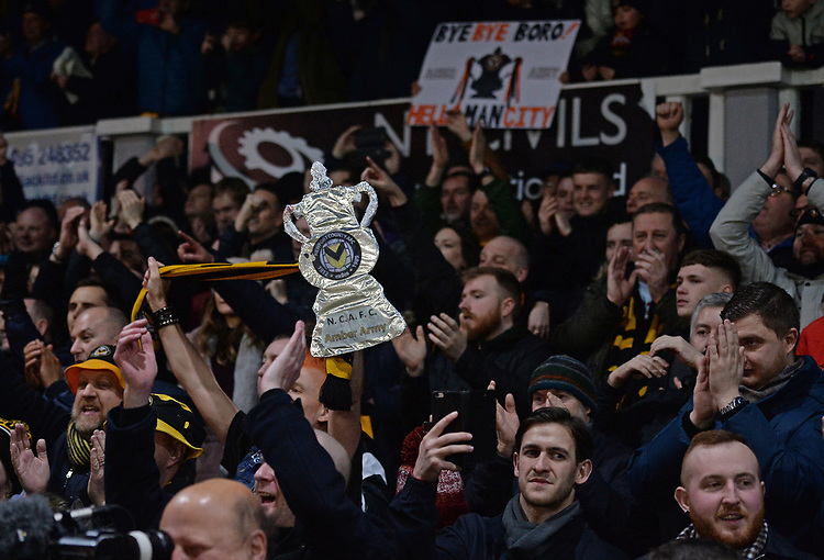 Newport County fans celebrate at the final whistle <br /> <br /> Photographer Ian Cook/CameraSport<br /> <br /> Emirates FA Cup Fourth Round Replay - Newport County v Middlesbrough - Tuesday 5th February 2019 - Rodney Parade - Newport<br />  <br /> World Copyright &copy; 2019 CameraSport. All rights reserved. 43 Linden Ave. Countesthorpe. Leicester. England. LE8 5PG - Tel: +44 (0) 116 277 4147 - admin@camerasport.com - www.camerasport.com