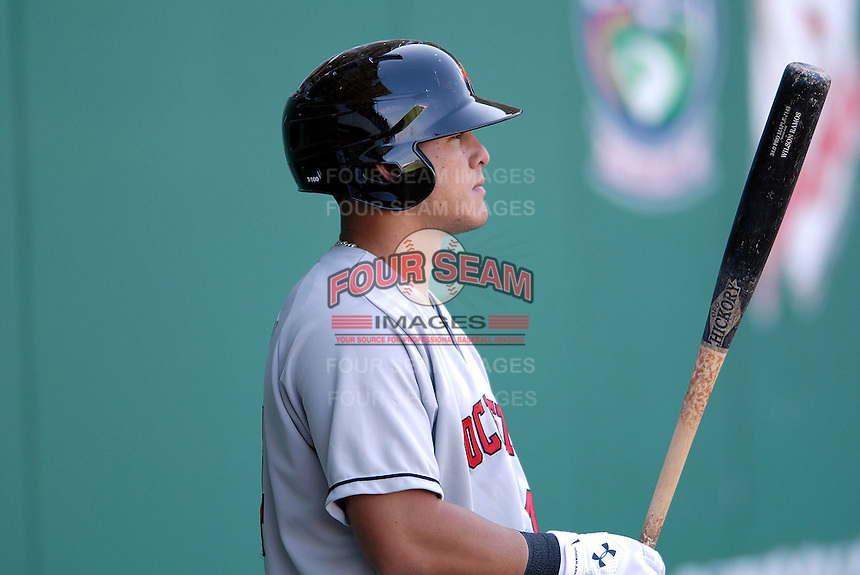 Catcher Wilson Ramos (# 44) of the Rochester Red Wings, the AAA International League affiliate of the Minnesota Twins, at McCoy Stadium in Pawtucket, RI  (Photo by Ken Babbitt/Four Seam Images)