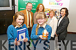 Pictured in front are Grace Etherton, winner of the Intermediate category and Sarah Jane O'Shea, winner of the Junior category and also winner of the overall winner of the Poetry Aloud Competition. Both Students are from Colaiste na Sceilge. Pictured with the winners in the back row, from left: Noel King (local poet and adjudicator), Karen O'Connor (local poet and judge), Noirin O'Keeffe (Kerry Library) and Ann O'Dwyer (Kerry Educational Services).