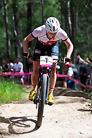 Picture by Alex Whitehead/SWpix.com - 12/04/2018 - Commonwealth Games - Cycling Mountain Bike - Nerang Mountain Bike Trails, Gold Coast, Australia - Annie Last of England wins Gold in the Women's Cross-country race