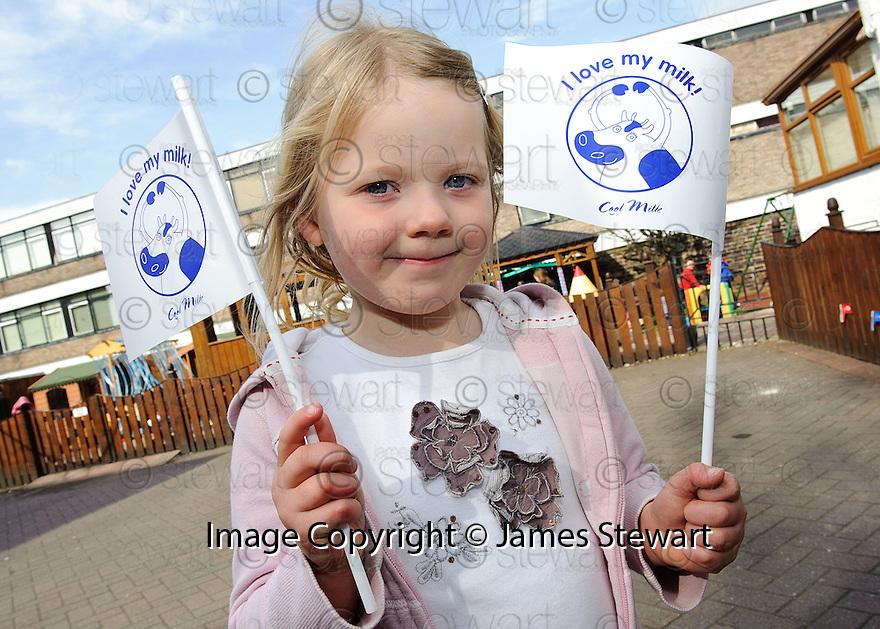 Morven Henderson (4) shows her love for milk at Wellside Kindergarten, Falkirk.