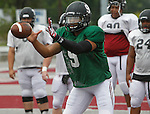Lindenwood QB Darrien Boone (9) takes a snap during Lynx practice.