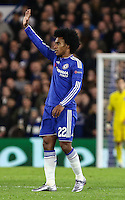 Willian of Chelsea celebrates scoring his team's second goal to make it 2-0 against FC Porto during the UEFA Champions League group match between Chelsea and FC Porto at Stamford Bridge, London, England on 9 December 2015. Photo by David Horn / PRiME