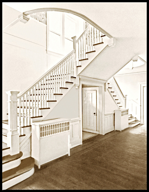 The double stairway inside an old Charlotte home that has long since been demolished.